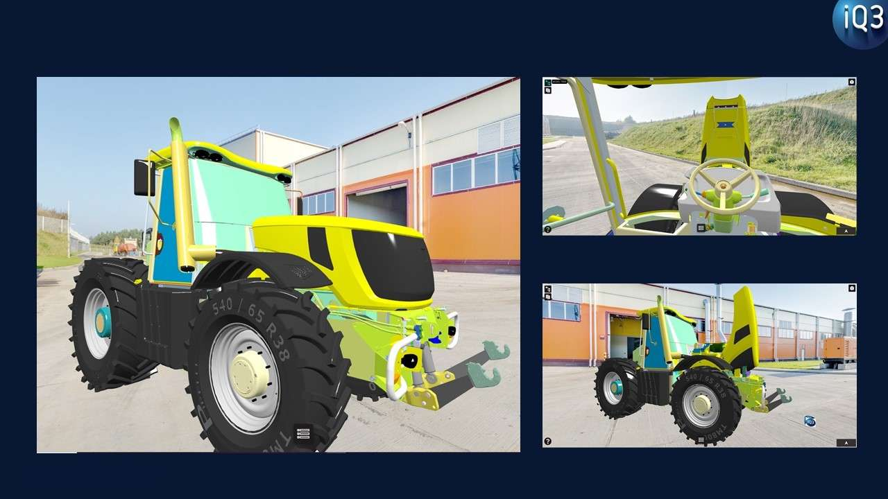 We have addressed these challenges in the iQ3 VR collaborative platform which provides an integrated, self-service solution for any non-expert to create powerful VR experiences in minutes. We created the tractor experience in a few minutes and published the experience as a weblink accessible to anyone. The link can also be embedded in your website, training portals, and promotional materials. A user simply has to click on a link to instantly enter the 3D experience with a VR headset or simply navigate using the mobile, tablet or PC. It's also easy to display the experience in conference rooms on large screens. Collaboration is built-in so anyone sharing the link can join the same 3D experience with friends, teams, customers, etc. in seconds. No downloads or nothing to install! Try it yourself. Contact our team to learn more about how you can empower your team to build powerful, shareable 3D experiences in minutes.
