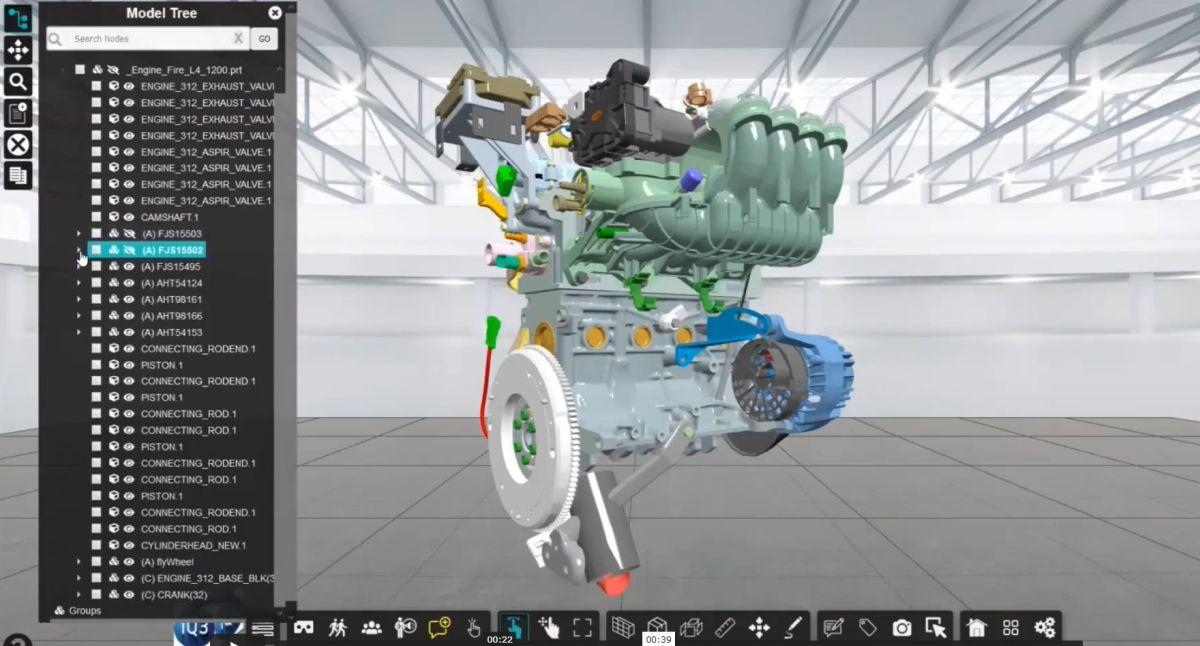 Interact with Complex CAD Geometry via the Model Tree in iQ3Connect XR Training Platform.